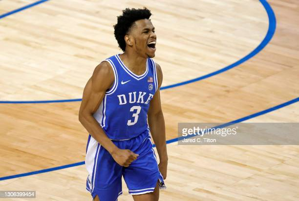 Jeremy Roach of the Duke Blue Devils reacts following a basket during the first half of their second round game against the Louisville Cardinals in...