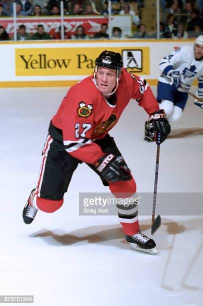 Jeremy Roenick of the Chicago Black Hawks skates against the Toronto Maple Leafs during NHL game action on December 20 1995 at Maple Leaf Gardens in...