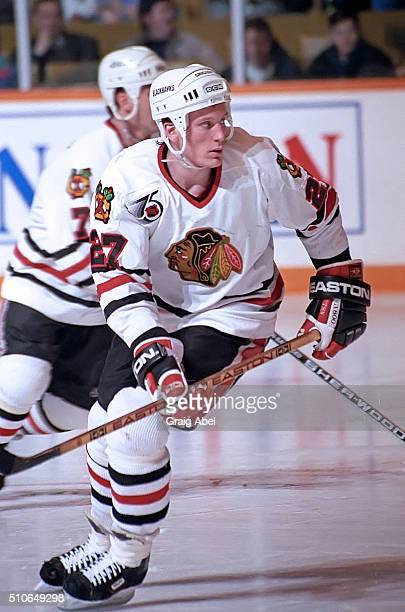 Jeremy Roenick of the Chicago Black Hawks turns up ice against the Toronto Maple Leafs during game action on February 29 1992 at Maple Leaf Gardens...
