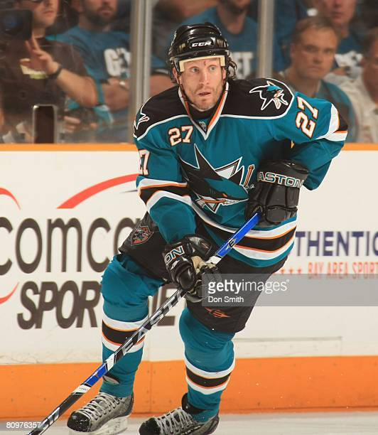 Jeremy Roenick of the San Jose Sharks skates during game two of the 2008 NHL Stanley Cup Playoffs conference quarterfinal series against the Dallas...
