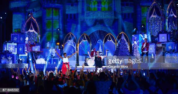 Jeremy Ruzumna Noelle Scaggs John Wicks Michael Fitzpatrick James King and Joseph Karnes of the Fitz and the Tantrums perform during the taping of...
