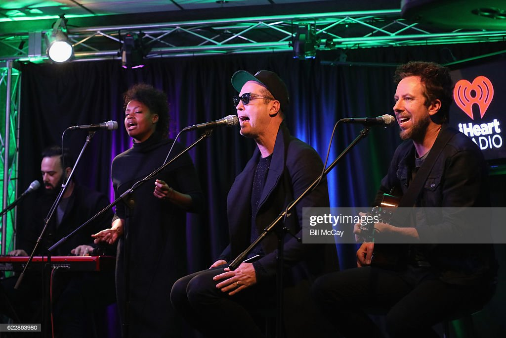 Jeremy Ruzumna, Noelle Scaggs, Michael Fitzpatrick and Joe Karnes of the band Fitz And The Tantrums perform at Radio 104.5 Performance Theater November 12, 2016 in Bala Cynwyd, Pennsylvania.