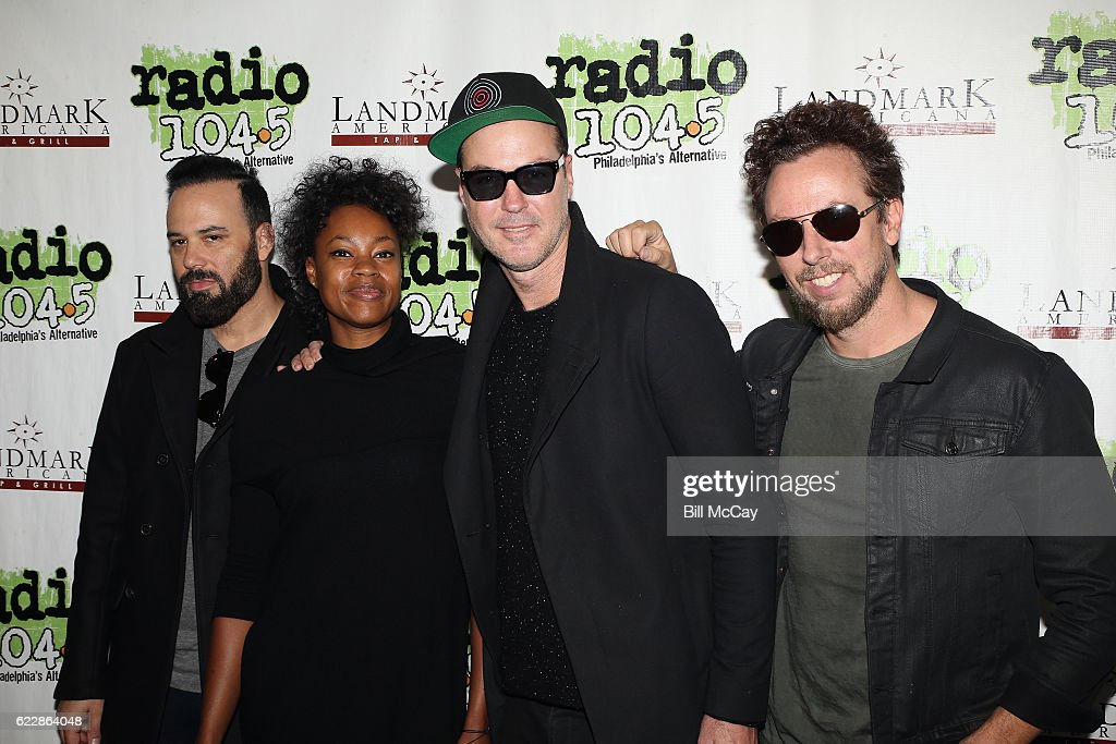 Jeremy Ruzumna, Noelle Scaggs, Michael Fitzpatrick and Joe Karnes of the band Fitz And The Tantrums pose at Radio 104.5 Performance Theater November 12, 2016 in Bala Cynwyd, Pennsylvania.