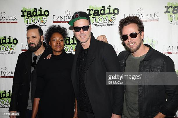 Jeremy Ruzumna Noelle Scaggs Michael Fitzpatrick and Joe Karnes of the band Fitz And The Tantrums pose at Radio 1045 Performance Theater November 12...