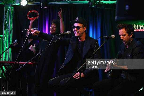 Jeremy Ruzumna Noelle Scaggs Michael Fitzpatrick and Joe Karnes of the band Fitz And The Tantrums perform at Radio 1045 Performance Theater November...