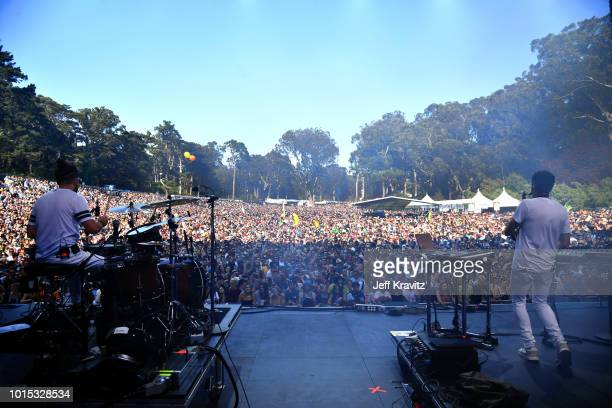 Jeremy Salken and Dominic Lalli of Big Gigantic perform on the Sutro Stage during the 2018 Outside Lands Music And Arts Festival at Golden Gate Park...