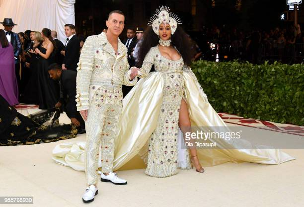 Jeremy Scott and Cardi B attend the Heavenly Bodies Fashion The Catholic Imagination Costume Institute Gala at The Metropolitan Museum of Art on May...