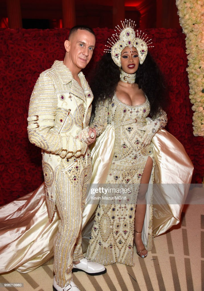 Jeremy Scott and Cardi B attend the Heavenly Bodies: Fashion & The Catholic Imagination Costume Institute Gala at The Metropolitan Museum of Art on May 7, 2018 in New York City.