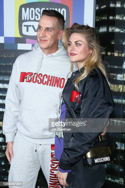Jeremy Scott and Frances Bean Cobain attend the Moschino x HM show at Pier 36 on October 24 2018 in New York City