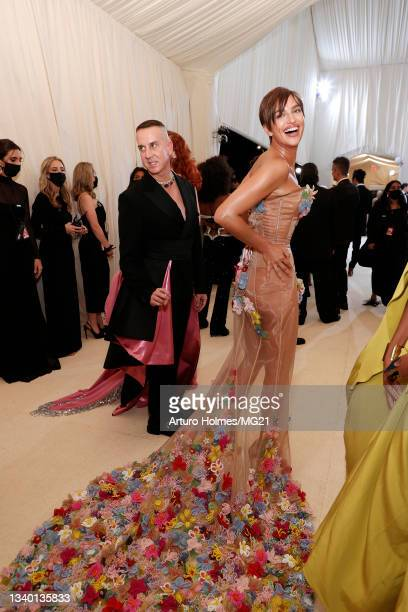 Jeremy Scott and Irina Shayk attend The 2021 Met Gala Celebrating In America: A Lexicon Of Fashion at Metropolitan Museum of Art on September 13,...