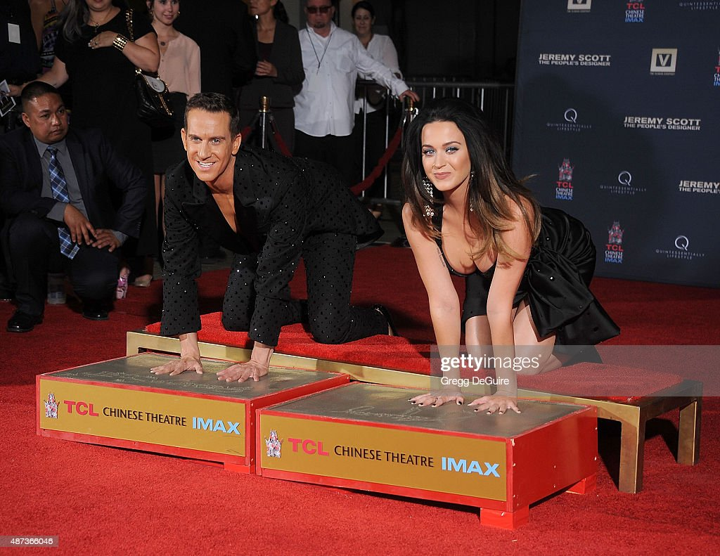 Jeremy Scott And Katy Perry Hand Print Ceremony At TCL Chinese IMAX Forecourt