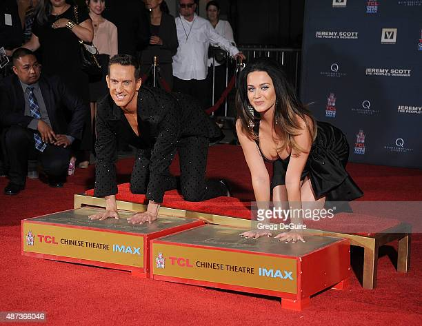 Jeremy Scott And Katy Perry Hand Print Ceremony At TCL Chinese IMAX Forecourt on September 8 2015 in Hollywood California