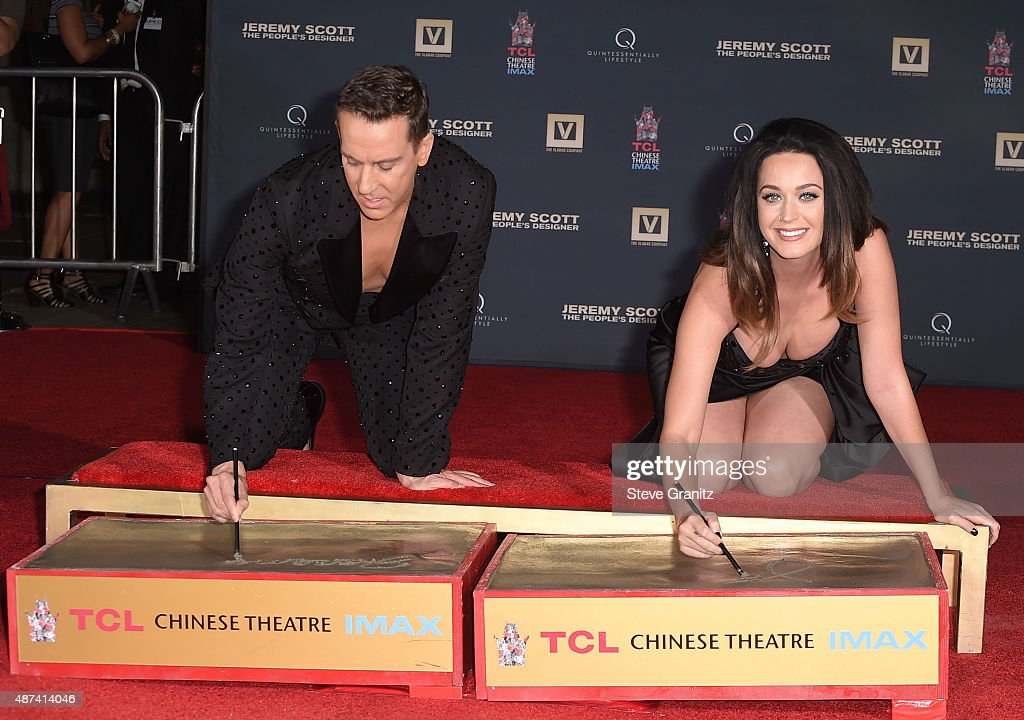 Jeremy Scott And Katy Perry Hand Print Ceremony At TCL Chinese IMAX Forecourt : News Photo