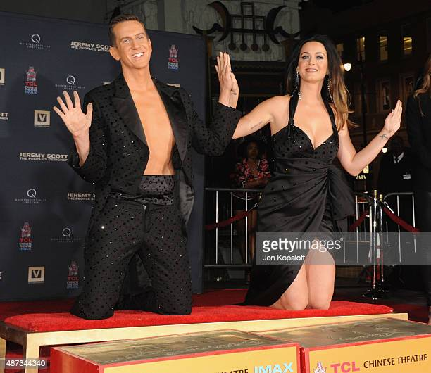 Jeremy Scott and Katy Perry pose at the Jeremy Scott And Katy Perry Hand Print Ceremony At TCL Chinese IMAX Forecourt at TCL Chinese Theatre IMAX on...