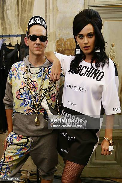 Jeremy Scott and Katy Perry pose backstage prior to the Moschino show during the 88 Pitti Uomo on June 18 2015 in Florence Italy