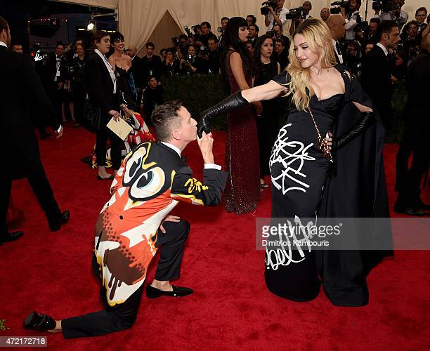 Jeremy Scott and Madonna attend the China Through The Looking Glass Costume Institute Benefit Gala at the Metropolitan Museum of Art on May 4 2015 in...