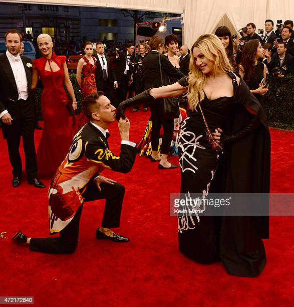 Jeremy Scott and Madonna attend the 'China Through The Looking Glass' Costume Institute Benefit Gala at Metropolitan Museum of Art on May 4 2015 in...