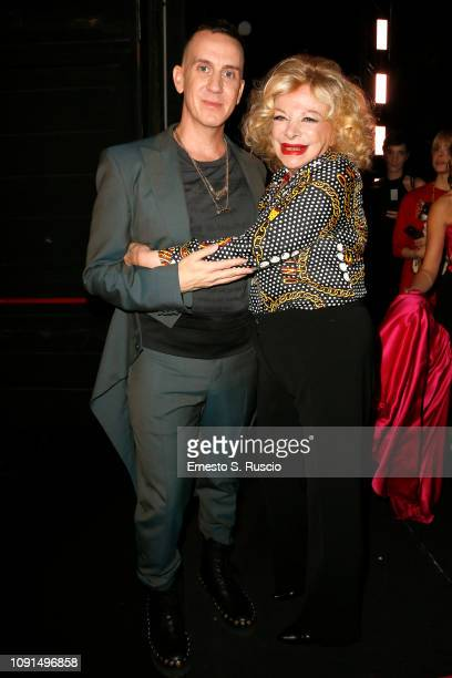 Jeremy Scott and Sandra Milo attend Moschino Menswear Collection Autumn/Winter 2019/20 at Cinecitta on January 08 2019 in Rome Italy