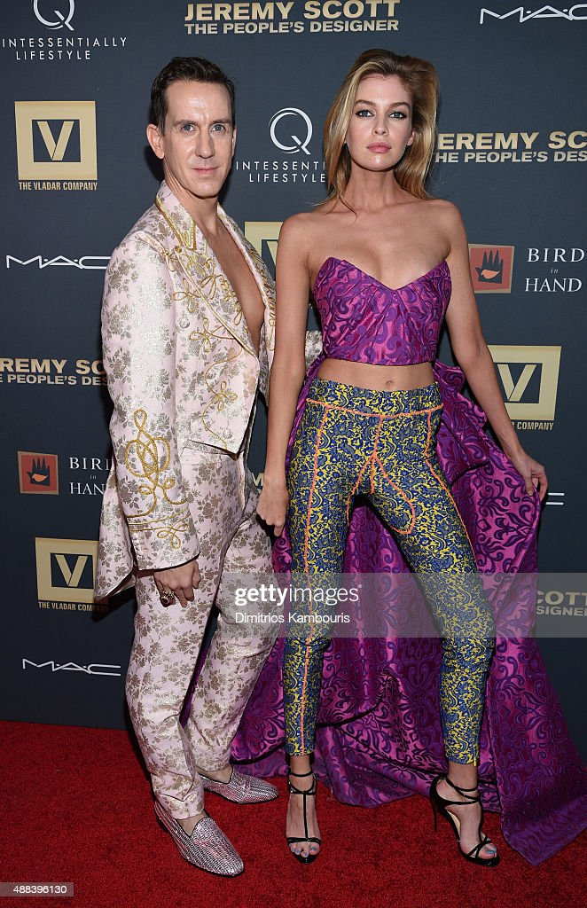 Jeremy Scott and Stella Maxwell attend 'Jeremy Scott: The People's Designer' New York Premiere at The Paris Theatre on September 15, 2015 in New York City.