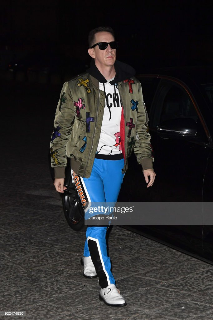 Jeremy Scott arrives at the Moschino show during Milan Fashion Week Fall/Winter 2018/19 on February 21, 2018 in Milan, Italy.