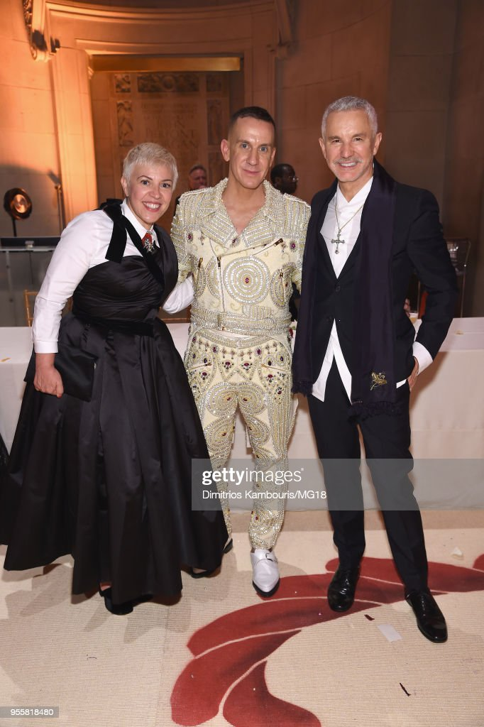 Jeremy Scott, Baz Luhrmann and guest attend the Heavenly Bodies: Fashion & The Catholic Imagination Costume Institute Gala at The Metropolitan Museum of Art on May 7, 2018 in New York City.
