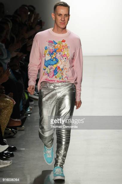 Jeremy Scott greets the audience after presenting the Jeremy Scott Fall 2018 collection at Gallery I at Spring Studios on February 8 2018 in New York...