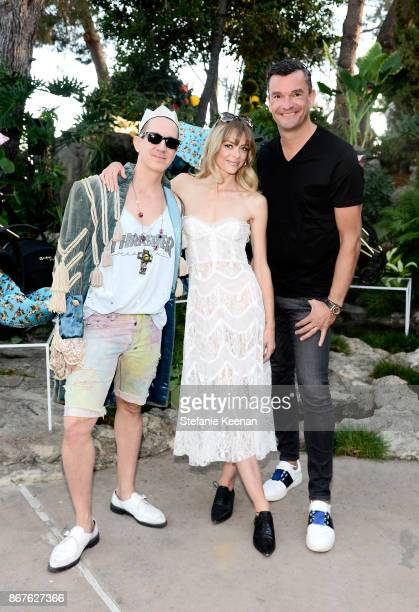 Jeremy Scott Jaime King and CYBEX Founder Martin Pos at the Cybex by Jeremy Scott Cherub Halloween Launch Celebration on October 28 2017 in Los...