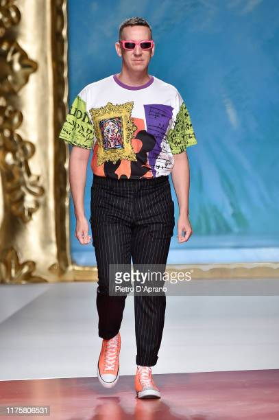 Jeremy Scott walks the runway at the end of the Moschino show during the Milan Fashion Week Spring/Summer 2020 on September 19, 2019 in Milan, Italy.