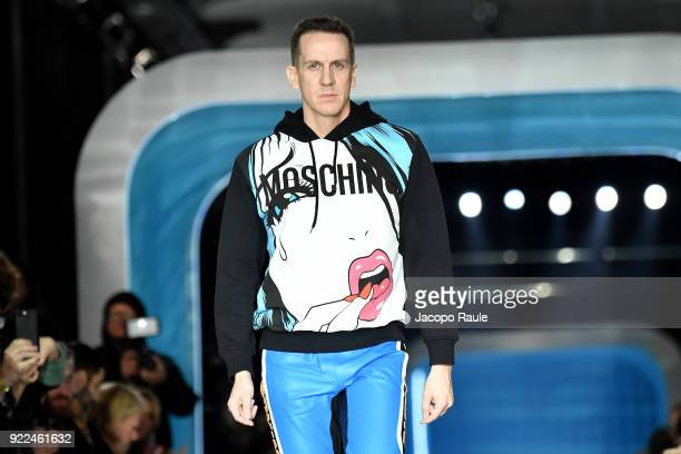 Jeremy Scott walks the runway at the Moschino show during Milan Fashion Week Fall/Winter 2018/19 on February 21 2018 in Milan Italy