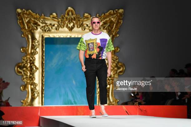 Jeremy Scott walks the runway at the Moschino show during the Milan Fashion Week Spring/Summer 2020 on September 19, 2019 in Milan, Italy.