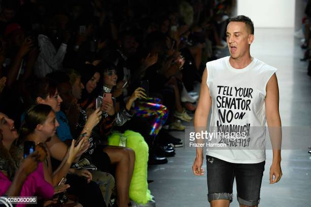 Jeremy Scott walks the runway for Jeremy Scott during New York Fashion Week The Shows at Gallery I at Spring Studios on September 6 2018 in New York...