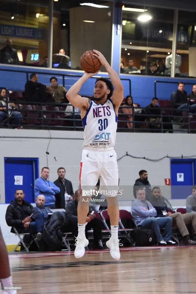 Jeremy Senglin #30 of the Long Island Nets shoots the ball against the Oklahoma City Blue at NBA G League Showcase Game 18 on January 12, 2018 at the Hershey Centre in Mississauga, Ontario Canada.