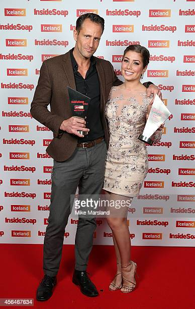 Jeremy Sheffield and Nikki Sanderson attend the Inside Soap Awards at Dstrkt on October 1 2014 in London England