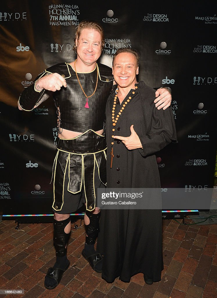 Jeremy Shockey and Lenny Hochstein attend Lisa Hochstein of 'Real Housewives of Miami' and Lenny Hochstein's Halloween Ball benefitting the Make-A-Wish Foundation on November 1, 2013 in Miami Beach, Florida.