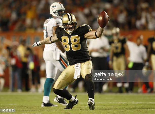 Jeremy Shockey of the New Orleans Saints celebrates after making a long reception against the Miami Dolphins on October 25, 2009 at LandShark Stadium...