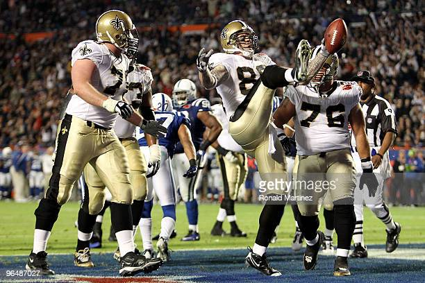 Jeremy Shockey of the New Orleans Saints reacts after scoring a touchdown against the Indianapolis Colts during Super Bowl XLIV on February 7 2010 at...