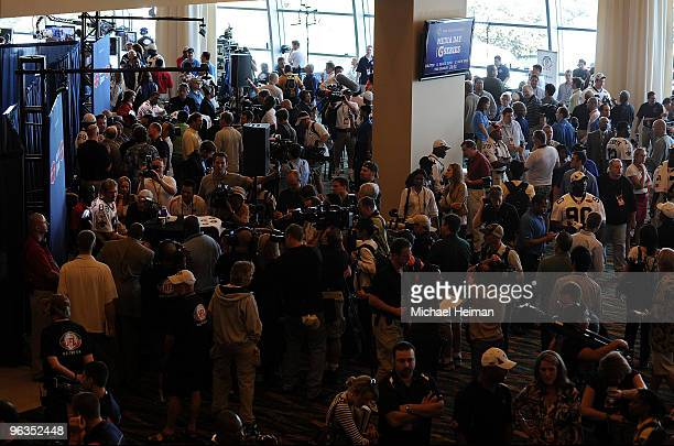 Jeremy Shockey of the New Orleans Saints speaks to members of the media during Super Bowl XLIV Media Day at Sun Life Stadium on February 2 2010 in...