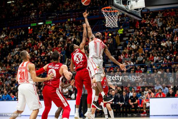 Jeremy Simmons and Jeff Brooks in action during the 2019/2020 italian basketball league LBA Regular Season Round 7 match between AX Armani Exchange...