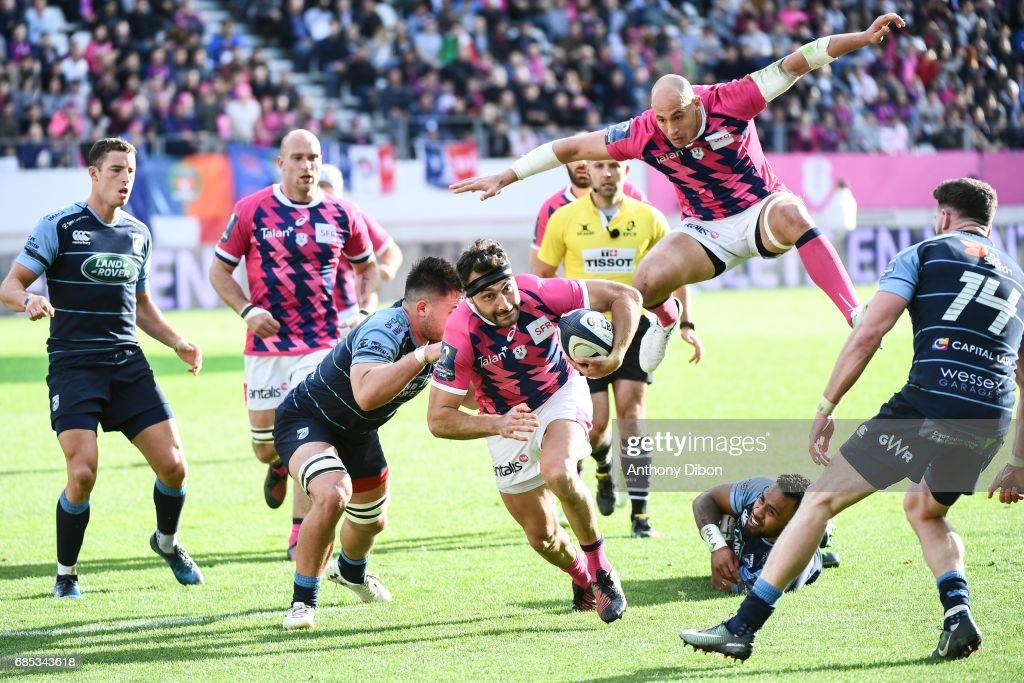 Jeremy Sinzelle of Stade francais and Sergio Parisse during the Champions Cup Play-offs match between Stade Francais Paris and Cardiff Blues at Stade Jean Bouin on May 19, 2017 in Paris, France.