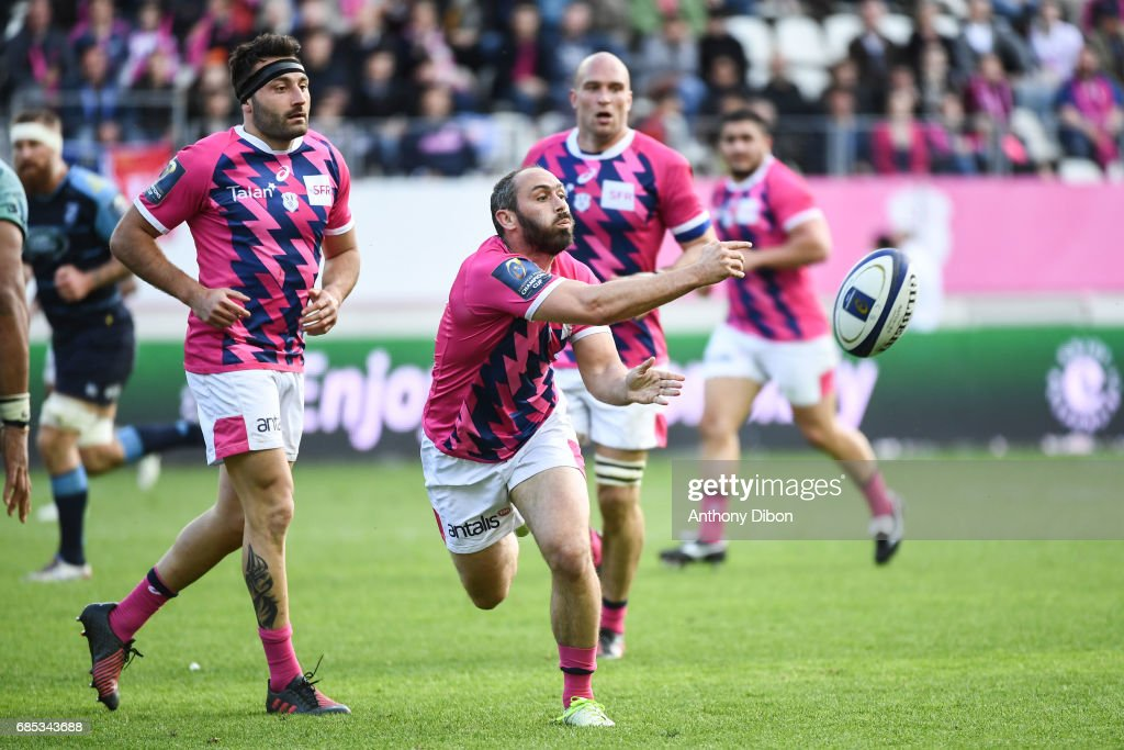 Jeremy Sinzelle of Stade Francais during the Champions Cup Play-offs match between Stade Francais Paris and Cardiff Blues at Stade Jean Bouin on May 19, 2017 in Paris, France.