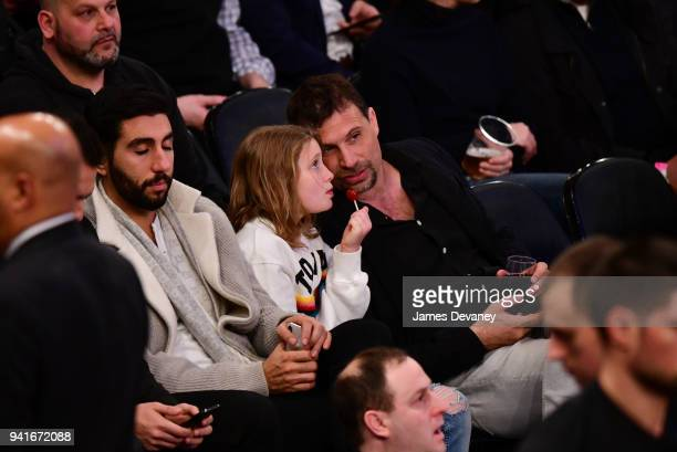 Jeremy Sisto and Charlie Ballerina attend New York Knicks Vs Orlando Magic game at Madison Square Garden on April 3 2018 in New York City