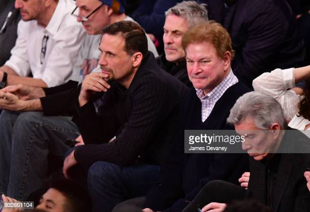 Jeremy Sisto and Robert Wuhl attend New York Knicks Vs Philadelphia 76ers game at Madison Square Garden on March 15 2018 in New York City