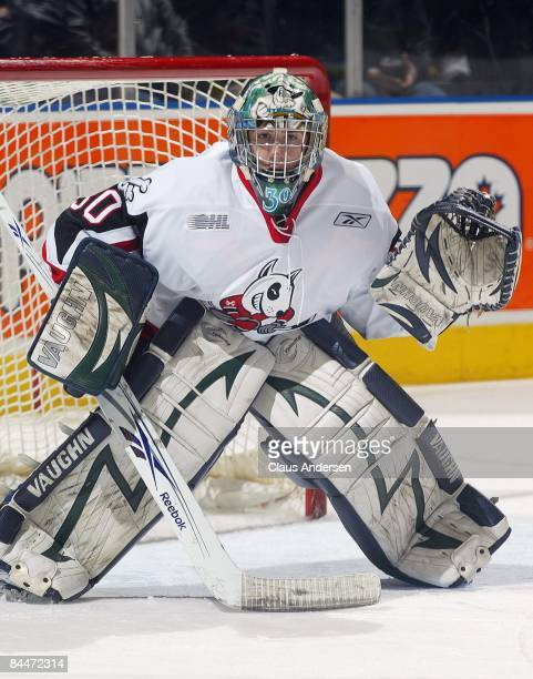 Jeremy Smith of the Niagara Ice Dogs keeps his eye on the play in a game against the London Knights on January 23 2009 at the John Labatt Centre in...