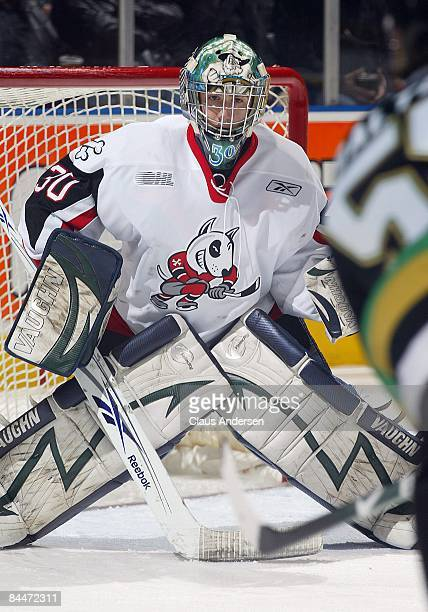 Jeremy Smith of the Niagara Ice Dogs waits for an incoming shot in a game against the London Knights on January 23 2009 at the John Labatt Centre in...