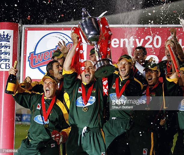 Jeremy Snape the Leicestershire captain lifts the trophy after winning the Twenty20 Cup Final match between Nottinghamshire and Leicestershire at...