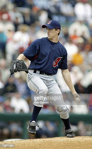 Jeremy Sowers of the Cleveland Indians delivers the pitch against the Detroit Tigers during a Spring Training game on March 32007 at Joker Marchant...