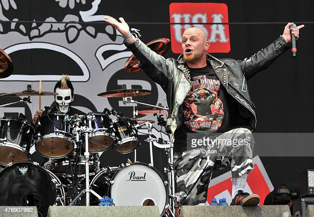 Jeremy Spencer and Ivan Moody of Five Finger Death Punch perform live on stage during Day 1 of the Download Festival at Donington Park on June 12...