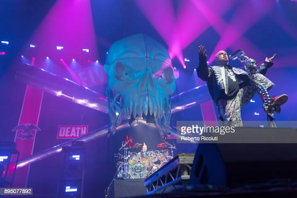 Jeremy Spencer and Ivan Moody of Five Finger Death Punch perform live on stage at The SSE Hydro on December 18 2017 in Glasgow Scotland