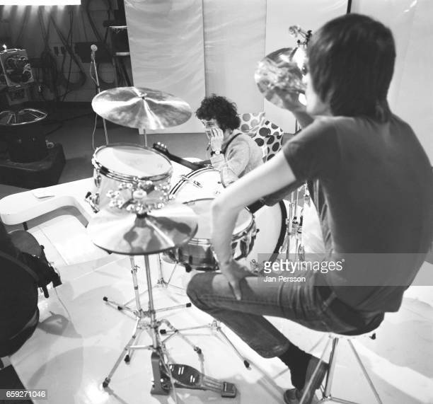 Jeremy Spencer and Mick Fleetwood of Fleetwood Mac performing at TV Special Copenhagen Denmark May 1968
