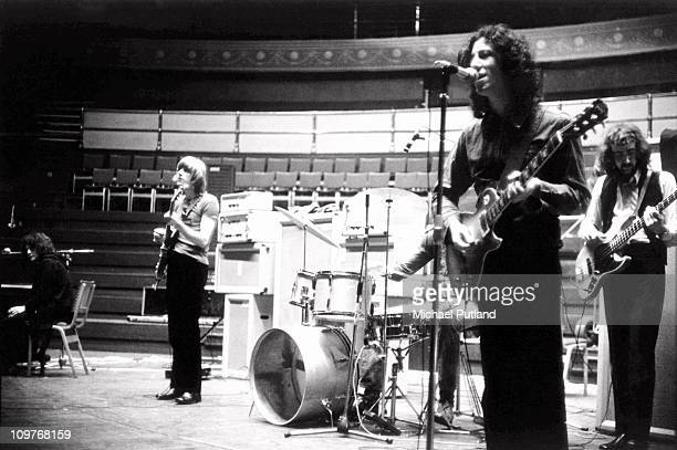 Jeremy Spencer Danny Kirwan Mick Fleetwood Peter Green and John McVie of Fleetwood Mac during rehearsals at the Royal Albert Hall in London England...